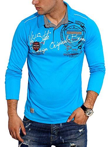 behype. Herren Langarm Polo-Shirt Longsleeve Polo-Hemd 20-6028 Türkis XL