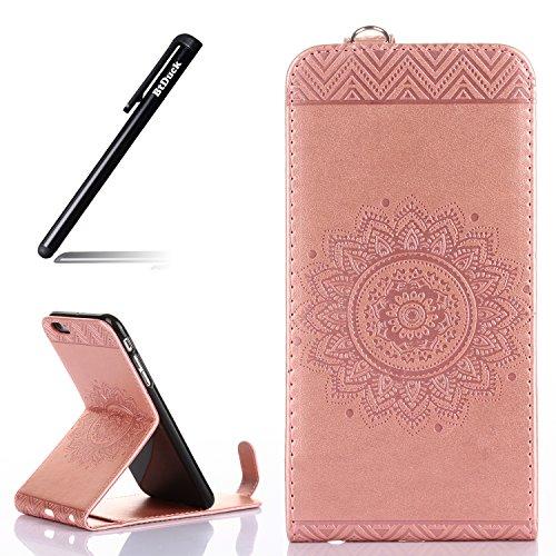 iPhone 6S Plus Hülle Leder,BtDuck Ultra Slim Silikon Cover Innere mit Standfunktion Tasche Magnet Hülle Leder Rose Gold Handyhülle Flip Cover mit Kartenfächer Schutzhülle für iPhone 6 Plus/6s Plus