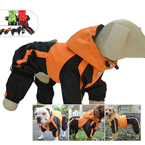 Lovelonglong Dog Hooded Raincoat, Small Dog Rain Jacket Poncho Waterproof Clothes with Hood Breathable 4 Feet Four Legs Rain Coats for Small Medium Large Pet Dogs Orange M