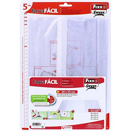 Fixo Cover 1009600-Pack de 5 forros para libros, ajustables, transparente, 29 x 53 cm