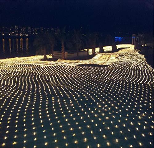 DROHE-Q Fata Luci Nette LED Rete da Pesca Maglia Cascata All'aperto Impermeabile Natale Festival Decorazione Bianco Caldo (2 * 2m)
