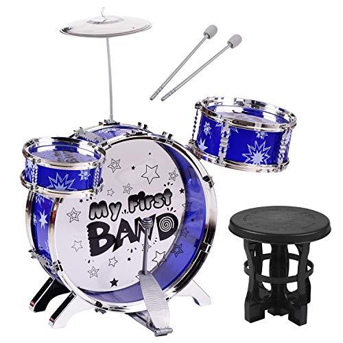 JJmooer Niños Niños Principiantes Set de batería de jazz Batería de 3 piezas con batería de platillos Taburete ajustable Batidor individual Percusión Instrumento musical Juguete para niños Regalos de