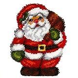 Huanxin Latch Hook Rug Kits, 3D Printed Canvas Christmas Santa Decor Crochet Tapis Needle for Carpet for Crafts 20.4' X 15.0',Santa Claus