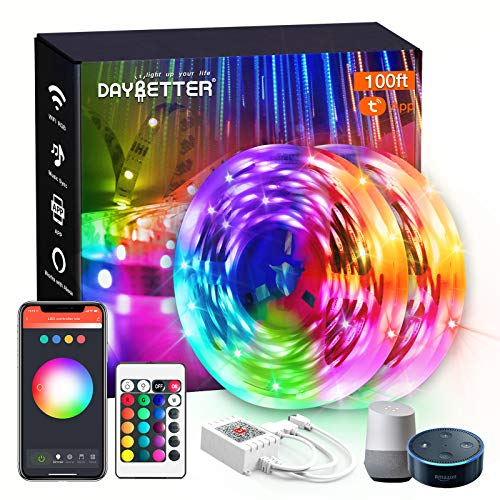 DAYBETTER Smart WiFi Led Lights 100ft, App Controlled Led Strip Lights Kits, Work with Alexa and Google Assistant, Timer Schedule Led Lights Strip, Color Changing Led Lights for Bedroom Party Kitchen
