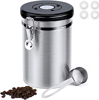 BRITOR Airtight Stainless Steel Coffee Canister Large,with Built-in CO2 Gas Vent Valve & Date Tracking Wheel &Scoop,4 Spar...