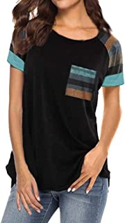 Women's T Shirt Short Sleeve Shirts Pocekt Striped Tunic Blouse Tanks Vest Tops