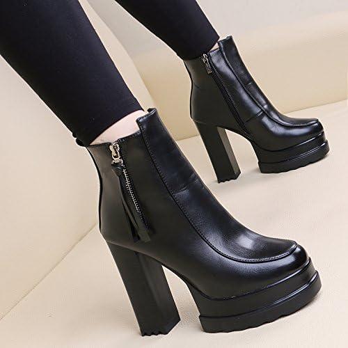 KHSKX-Las mujeres zapatos De Tacón Alto botas Cortas Impermeable Cremallera Lateral Tacon Martin botas botas De Flecos De Ante Desnuda