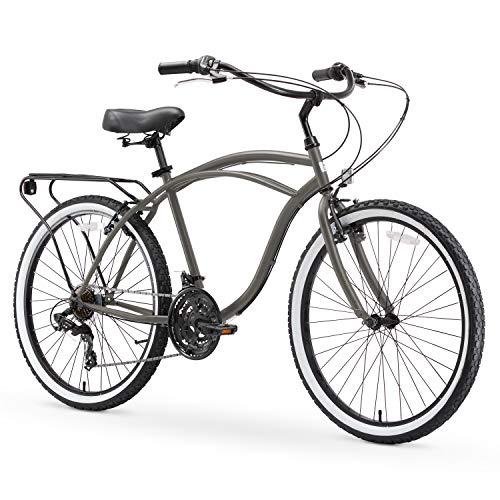 "sixthreezero Around The Block Men's 21-Speed Beach Cruiser Bicycle, 26"" Wheels, Matte Grey with Black Seat and Grips"