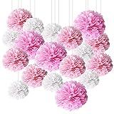 BESTZY Pompones de Papel, Bolas de Flores para Decoración de Fiestas, Varios Tamaños, Adecuados para Decoración de Banquetes, Fiestas de Cumpleaños, Bodas, Rosa y Blanco (18 PCS)