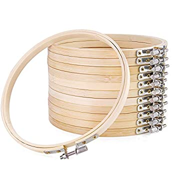 Pllieay12 Pieces 6 Inch Round Embroidery Hoops Bamboo Circle Cross Stitch Hoop for Embroidery Crafts