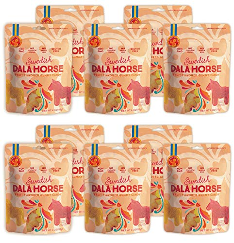 Candy People Dala Horse Gummy Candy 4 Ounce - Non-GMO Gluten-Free Swedish Candy Gummies (10 Pack)