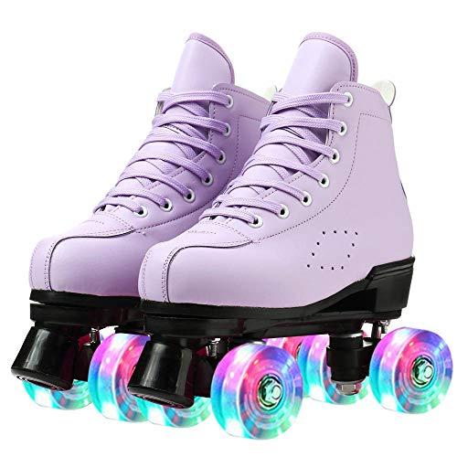 Roller Skates for Women and Men Cowhide High-Top Shoes Classic Double-Row Roller Skates Four-Wheel Roller Skates for Men Girls Unisex (Purple flash,41=US:8)