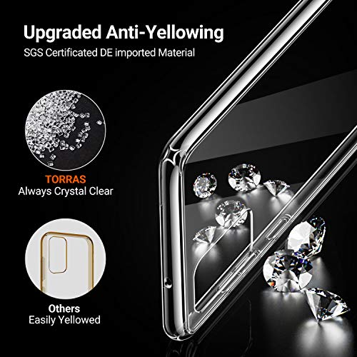 TORRAS Diamonds Clear Designed for Samsung Galaxy S20 Case 2020, [Fully Protective] Shockproof Slim Thin Hard Plastic Back with Soft Silicone Edge for Galaxy S20 5G Case 6.2'', Clear
