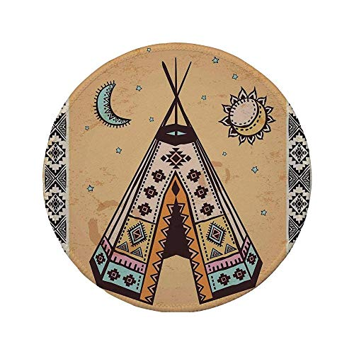 Rutschfreies Gummi-Rundmauspad Stammeszelt ethnisches Zelt mit alten Symbolen Kulturelles einzigartiges böhmisches Freigeist-Design blasses Kaffeebraun 7,87 'x 7,87' x 3 mm