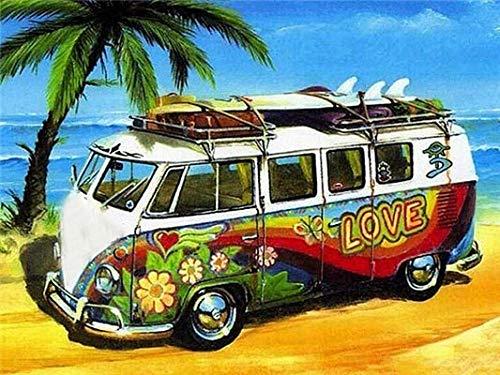 Hermoso coche autobús pintura al óleo por números imagen artística pintura acrílica dibujo sobre lienzo pintado a mano decoración del hogar A21 45x60cm