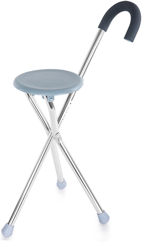 Disability Aid Folding Seat Cane Aluminum Alloy Light Weight Sponge Handle Walking Stick & Chair Seat,83Cm