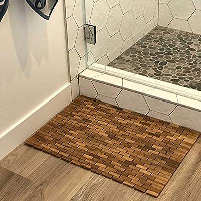 Hip-o Modern Living Teak Indoor Outdoor Bath and Shower Mat
