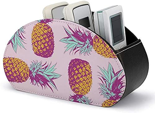 Caja de almacenamiento de cuero Diferentes plátanos Soporte de control remoto todo en uno con 5 compartimentos Bandeja organizadora Pincel de maquillaje Soporte para bolígrafo-Negro-Rosa Piñas7