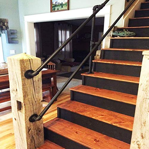 Yanbeng Handrail Stair Railing Handrail for Indoor Stairs, Industrial Metal Wrought Iron Water Pipe Design, Black Iron Loft Villa Outdoor Decoration Kit, Customizable Size-20ft/600cm
