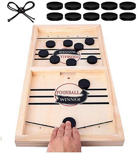 Fast Sling Puck Game Large Wooden Sling Hockey Board Games Super Winner Game for Kids and Adults Wooden Hockey Table Game Speed Pucks Sling Hockey Table Game Speed Puck Game Sling Puck Game