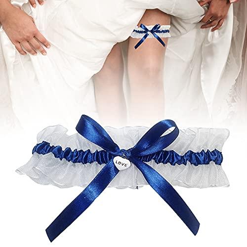 DURANTEY 1 Piezas Liga de Novia para Boda Liguero de Novia Elástico Liga Nupcial Bonita Liga de Matrimonio con Adorno de Encaje Blanco y Lazo Azul Accesorios para Vestidos de Novia - Tamaño: 33-66cm