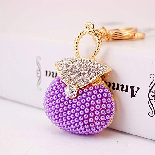XKMY Llavero de regalo para mujeres y hombres creativos lindo bolso de perlas rosa modelado llavero para mujer bolsa accesorios colgante de metal regalo romántico (color: morado, tamaño: 12 cm)