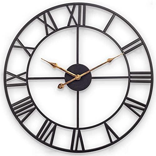 DXMGZ Reloj de Pared Grande Vintage Industrial Europeo con Números Romanos, Reloj de Metal Silencioso Que No Hace Tictac, para el Hogar/Sala de Estar/Cocina/Dormitorio/Estudio 80CM