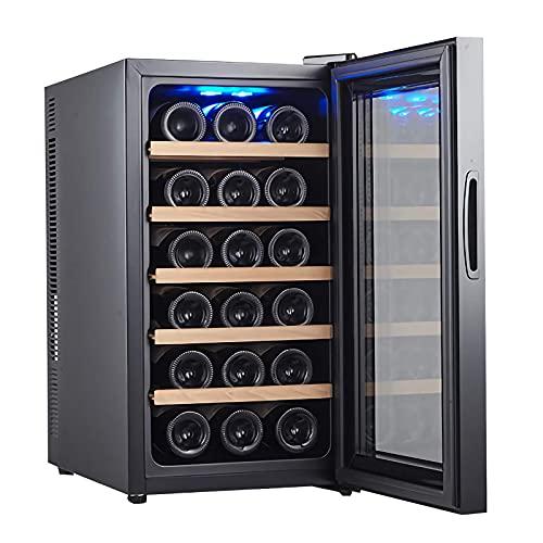 JLKDF Enfriador de Vino para 18 Botellas, refrigerador para Bodega de mostrador, refrigerador para Vino pequeño Independiente de Humedad Constante, Pantalla Digital de Temperatura, puert
