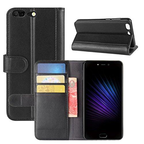 HualuBro Leagoo T5 Hülle, [All Aro& Schutz] Echt Leder Leather Wallet Handy Tasche Schutzhülle Hülle Flip Cover mit Karten Slot für Leagoo T5 Smartphone (Schwarz)