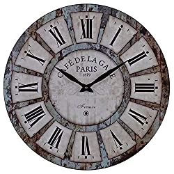 Old Oak 24-Inch Vintage Large Silent Non-Ticking Decorative Wall Clock for Wall Decor