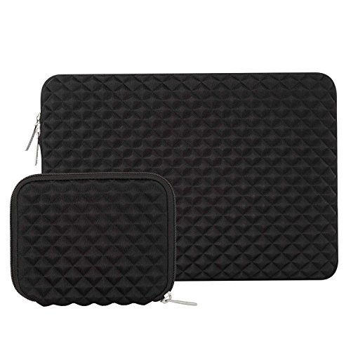 MOSISO Laptop Sleeve Compatible with 13-13.3 inch MacBook Pro, MacBook Air, Notebook Computer, Diamond Foam Neoprene Bag with Small Case, Black