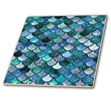 3dRose Multicolor Girly Trend Blue Luxury Elegant Mermaid Scales Glitter 12 inches { Decorative Tiles, 12-Inch-Ceramic, Clear