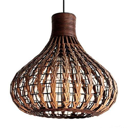 SXRKRZLB Iluminación colgante Bambú natural de la lámpara DIY de mimbre Rattan cortinas de la lámpara de la armadura de luz colgante