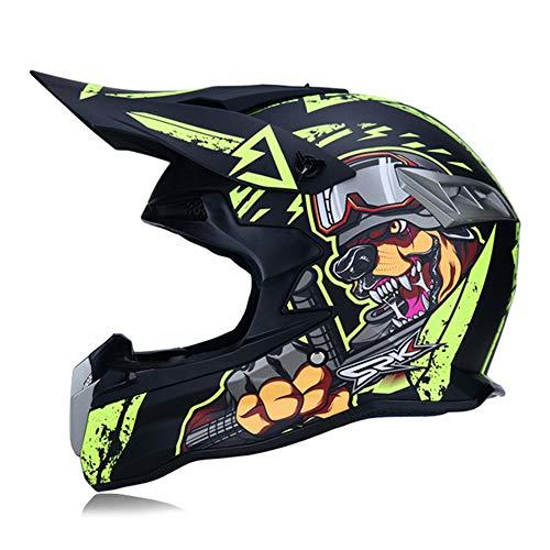 MRDEAR Wolf - Downhill Helm Herren Motorrad Crosshelm Motocross Helm Pro Fullface MTB Motorradhelm Schutzhelm für Quad BMX Pocket Bike ATV Enduro Sport, DOT-Zertifizierung, 2 Arten,A,L