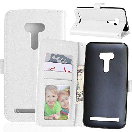 Fatcatparadise Kompatibel mit Asus ZenFone Selfie ZD551KL Hülle + Bildschirmschutz, Flip Wallet Hülle mit Kartenhalter & Magnetverschluss Halterung PU Leder Hülle handyhülle (Weiß)