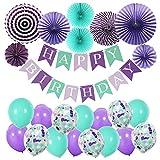 AMOE Globos Fiesta Suministros Cumpleaños Decoraciones Púrpura, de latex Kits de decoraciones de fiesta de cumpleaños de para niña Pequeña Fiesta de Cumpleaños de Dama de niño, Boda