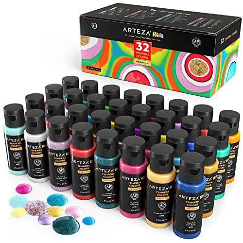 ARTEZA Tempere Lavabili per Bambini, Set da 32 Colori in Bottiglie da 60 ml con Inclusi Neon, Glitter e Visibili al Buio, per Pittura Poster per Proge
