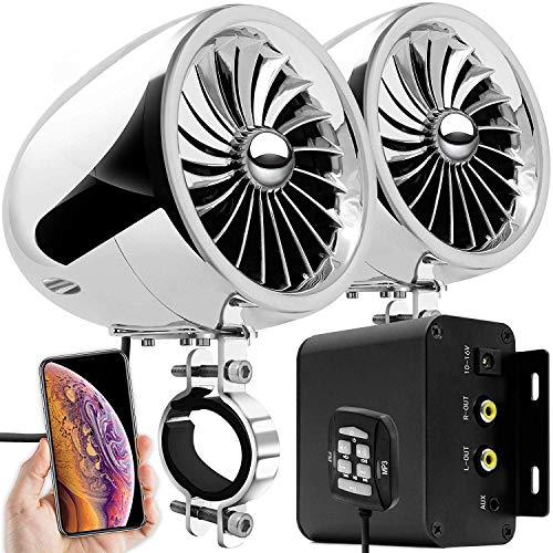 Aileap M150 Sistema de Audio con Amplificador de Moto con AUX, MP3, Radio FM, 4 Pulgadas de Altavoces estéreo Bluetooth Impermeables para Motocicletas ATV UTV RZR (Cromo, Ventilador)