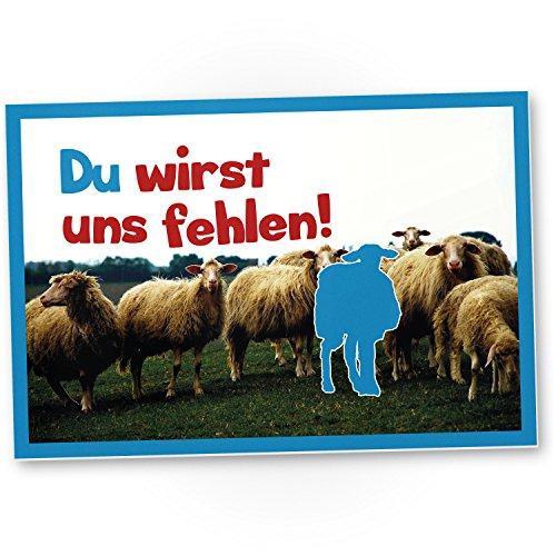 Du wirst uns fehlen (Schafe) - Kunststoff Schild als Abschiedskarte Jobwechsel, Geschenkidee Abschiedsgeschenk Kollegen, Geschenk Verabschiedung Kollege / Chef, Abschied Arbeitskollege im Büro