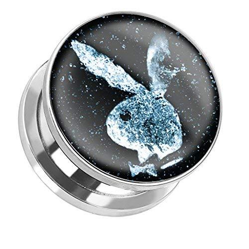 Coolbodyart Tapsi´s Ohr Plug Piercing Schraubverschluss Edelstahl Chirurgenstahl 316L Playboy Bunny All 10mm