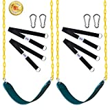 Swings Seat with 66' Chain Plastic Coated [2 Pack],Playground Swing Set Accessories Replacement with Snap Hooks and Hanging Strap Carabiners for Easy Install