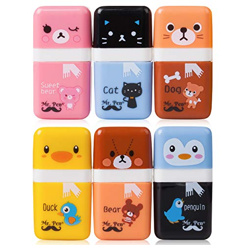 Mr. Pen- Erasers for Kids, 6 Pack, Eraser with Cover and Roller, School Supplies, Erasers, Kids Erasers, Pencil Eraser, Cute Erasers, Kids School Supplies