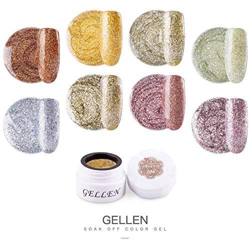 Gellen カラージェル 8色 セット[ラメゴールド]高品質 5g ジェルネイル カラー ネイルブラシ付き