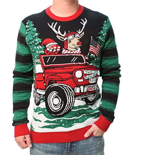 Ugly Christmas Sweater Mens How We Roll Reindeer Off-Road Light Up Sweater- M Black