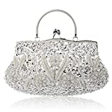 Vistatroy Vintage Style Beaded And Glass Beads Evening Bag Wedding Party Handbag Clutch Purse for Women Female Formal Evening (Silver)