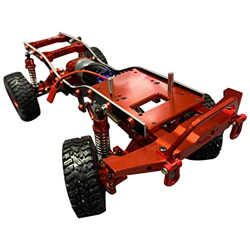 wivarra 1/16 Metall RC Auto Chassis Upgrade Teile RC Fahrzeugmodelle Montiert Rahmen Chassis für WPL C14 C24 Rot