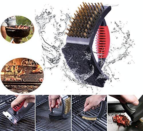 Cepillo Limpia Parrillas 3 en 1 BBQ Alambre Acero Inoxidable Con Esponja y Espátula Manual