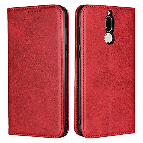 Copmob Huawei Mate 10 Lite hülle,Premium Flip Leder Geldbörse mit weichem TPU-Shock Absorption,[3 Kartensteckplatz][Ständerfunktion][Magnetschnalle] - Rot