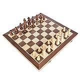 XIAOWEI Juego de ajedrez Plegable de Madera clásico | Juegos de Tablero de ajedrez de Viaje portátiles Hechos a Mano | Juego de ajedrez para Principiantes con Ranuras de Almacenamiento | Juego de AJ