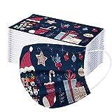 RUDOSE Kinder Weihnachten Mundschutz Multifunktionstuch Lustig Einweg Weihnachtsmaske Atmungsaktiv Weihnachtsmotiv Mund-Nasenschutz Christmas Motiv Maske Tücher Halstuch Jungen Mädchen